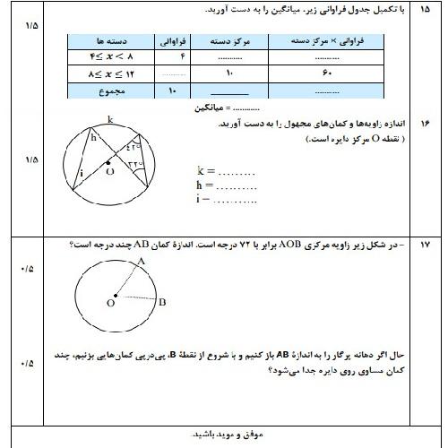دانلود نمونه سوال ریاضی هشتم نوبت دوم خــردادماه 97 سری اول