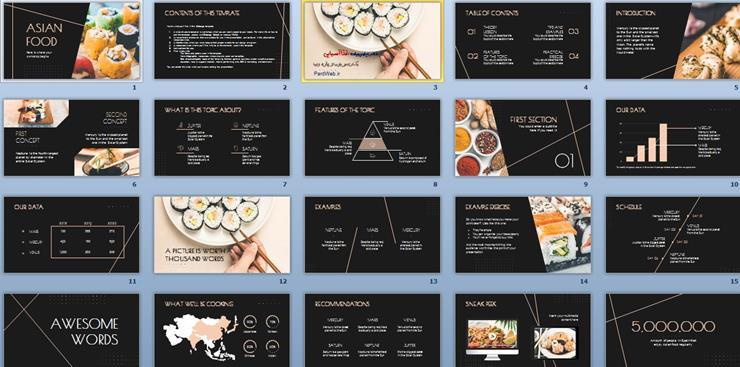 قالب پاورپوینت غذا آسیایی
