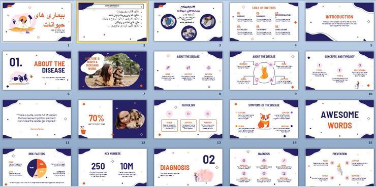 قالب پاورپوینت بیماری های حیوانات