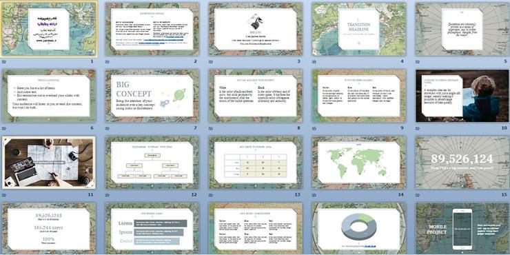 تمپلیت پاورپوینت ارائه جغرافیا