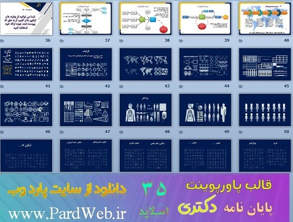 آیکون های قالب پاورپوینت دکتری شامل 22 اسلاید و بیش 1000 ایکون پزشکی، آموزشی، تجاری